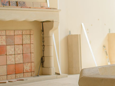 limestone fireplace being built