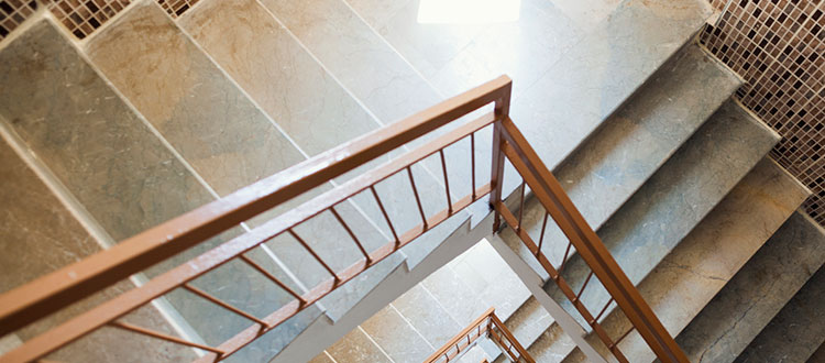 Custom Limestone Staircase With Hand Rail