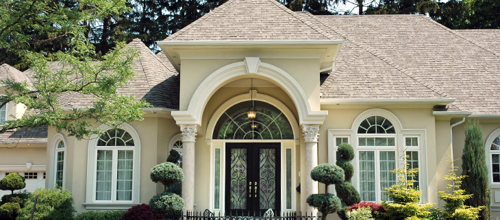 Beautiful house with limestone columns in the front
