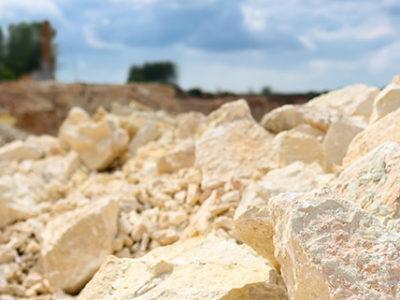 Broken up limestone in a mining field