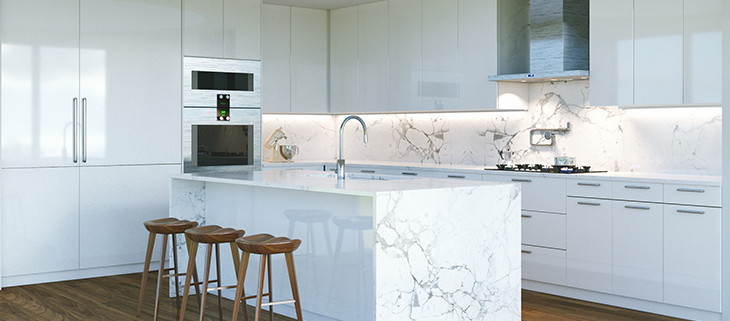 Elegant white kitchen with marble island in the middle